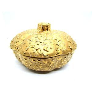 Vintage Hand Decorated 22K Weeping Gold Candy Dish